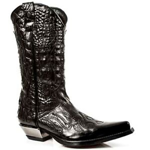 Newrock-7921-S1-New-Rock-Cuir-Occident-Noir-Flamme-Cow-boy-Unisexe-Bottes-Cuir