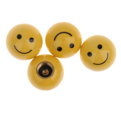4pcs Mini Smile Smiling Face Yellow Valve Caps Dust Cover for BMX Bike Car