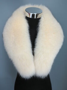 100%Real fox fur collar/ wrap /scarf beige collar new m