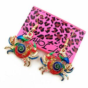 Colorful-Enamel-Cute-Crab-Eardrop-Betsey-Johnson-Dangle-Animal-Earrings-Gift