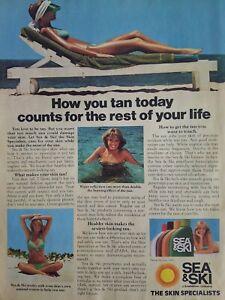 1978-See-amp-Ski-Suntan-Braeunung-Lotion-Lady-Strand-Stuhl-Ocean-Anzeige