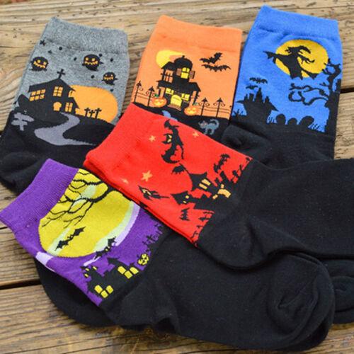 Ladies Girls Halloween Pumpkin Design Socks Cotton Blend Festive Sock CS