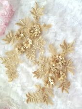 """Embroidered 3D Appliques Gold Beige Floral Lace Mirror Pair 8.25"""" (DH68) DIY"""