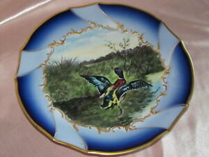 Assiette-de-decoration-porcelaine-Limoges-decor-gibier-canard-peint-main