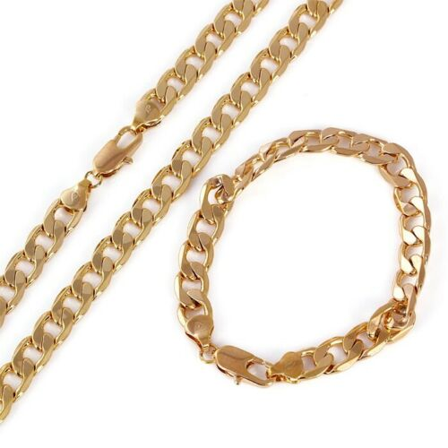 """9ct 9K Yellow /""""Gold FILLED/"""" Curb NECKLACE 21/"""" BRACELET 8.7/"""" SET W=8mm Gift 2221"""