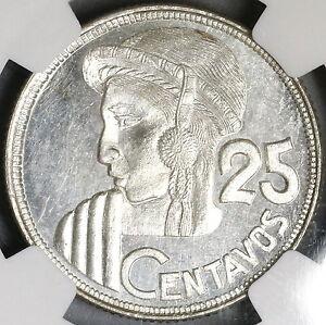 1950-NGC-UNC-GUATEMALA-Silver-25-Centavos-Maya-Girl-Rare-Date-81k-17042703C