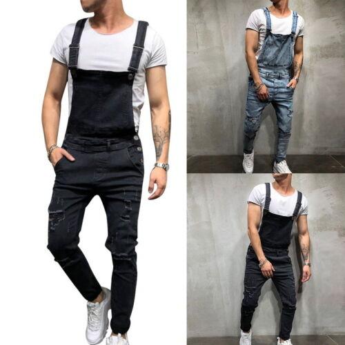 Mens Dungarees Loose Fit Cotton Black Dungarees Work Vintage Overalls Bib  Black