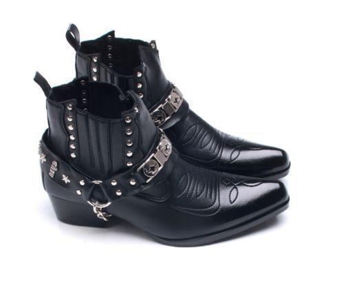 Mens Faux Leather Ankle Boots Western Cowboy Biker Casual Bike Shoes Korea 4896