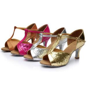Womens-Ladies-Girls-Ballroom-Salsa-Tango-Heeled-Latin-Dance-Dancing-Sequin-Shoes