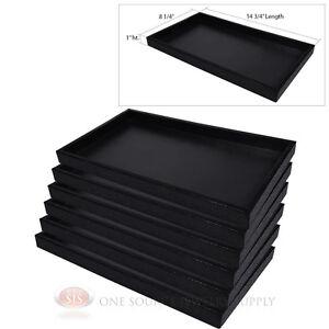 6 Black Plastic Display Sample Tray Jewelry Organizer Travel
