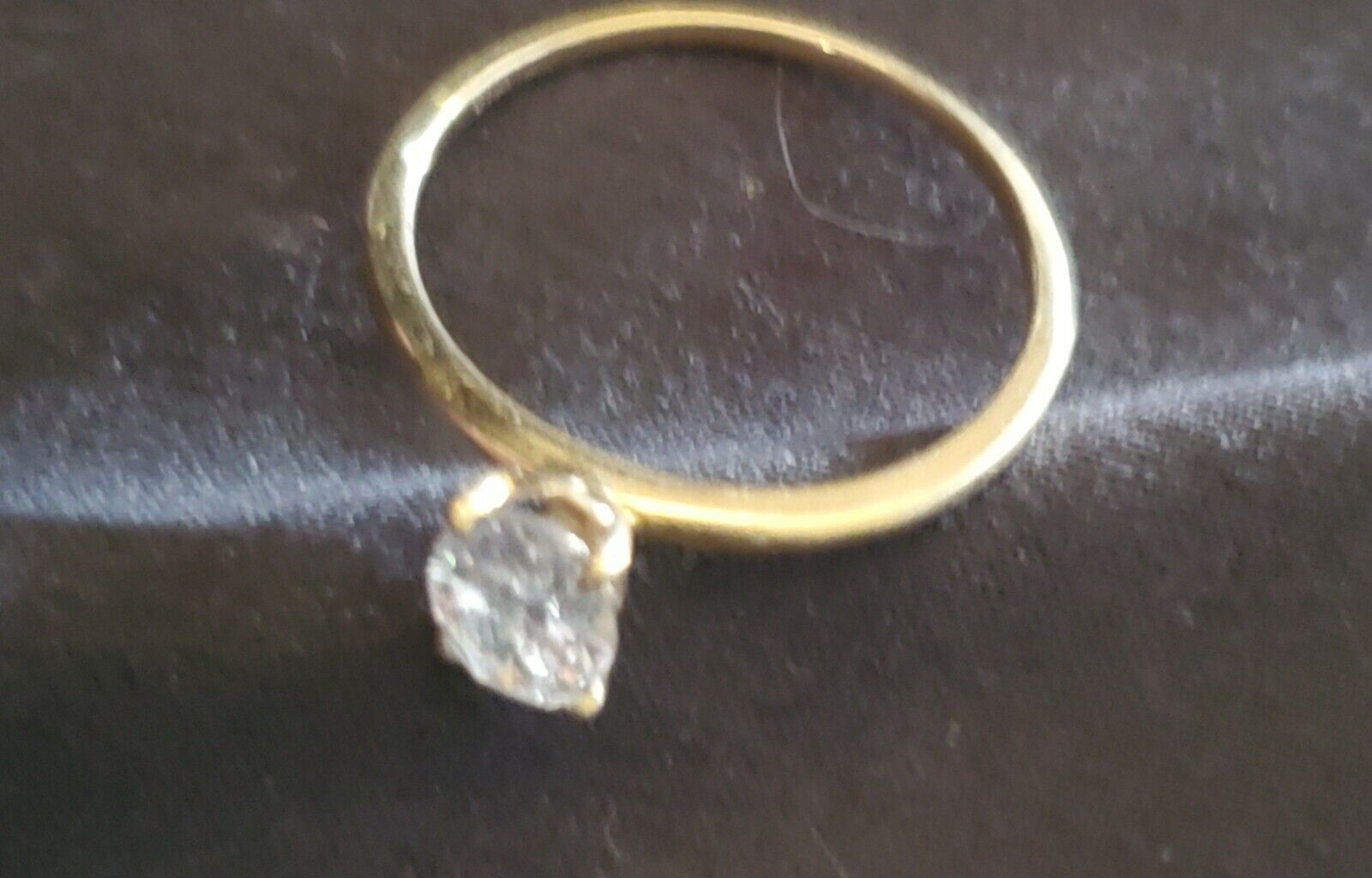 14k Gold Oval CZ Solitaire Ring, Size 7 - image 3