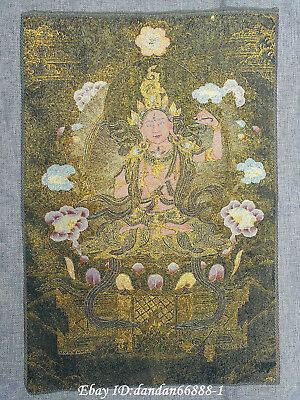 "24/"" Tibet Buddhism Cloth Silk lotus flower Tara Guanyin Thangka Embroidery Mural"