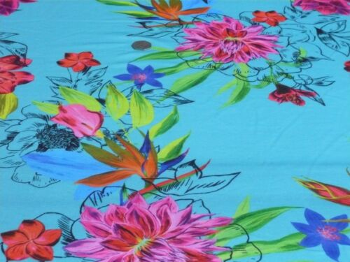 TURQ//CERISE//RED DRESS FABRIC-FREE P/&P STRETCH JERSEY PRINT-LARGE BRIGHT FLORAL