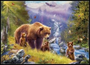 Grizzly-Cubs-Chart-Counted-Cross-Stitch-Pattern-Needlework-Xstitch-craft-DIY