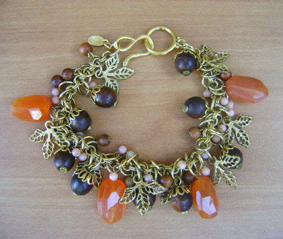 Charm Bracelet with Leaves, Faceted Chalcedony Chunks, Coral and Wood