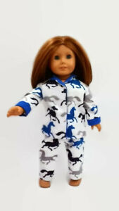 Pajamas PJs fits American Girl Dolls 18 inch Doll Clothes Blue Horses