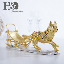 Hinged Trinket Box Hand Painted Sled Dog Trinket Jewelry Box Decor Bejeweled Box