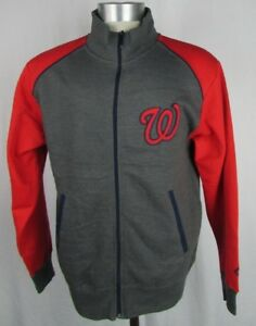 Details About Washington Nationals Men S Full Zip Charcoal Track Jacket Mlb Majestic S 2xl