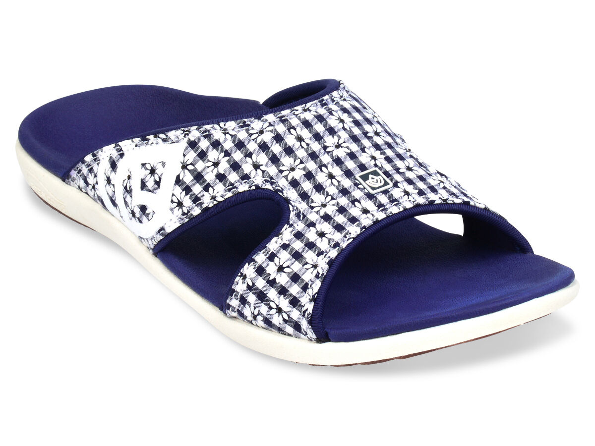 Women's Spenco Total Support Orthotic Slide Sandals Gingham Floral Navy Size 8