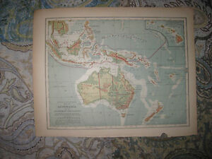 Antique 1901 australia political physical map hawaii pacific islands image is loading antique 1901 australia political physical map hawaii pacific gumiabroncs Choice Image