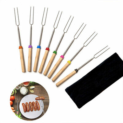 Cooking Telescopic Canvas Pouch Roasting Sticks Toasting  Forks Barbecue Skewers