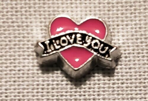 Silver-tone Pink Heart w//// Love Banner Floating Locket Charm NEW