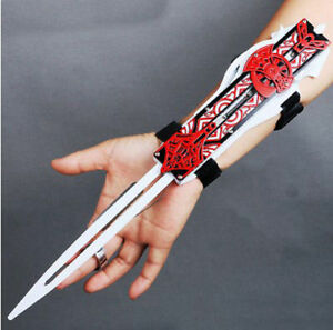 Red Assassin/'s Creed Hidden Blade Cosplay Alloy 1:1 Sleeve Arrow Catapult Props