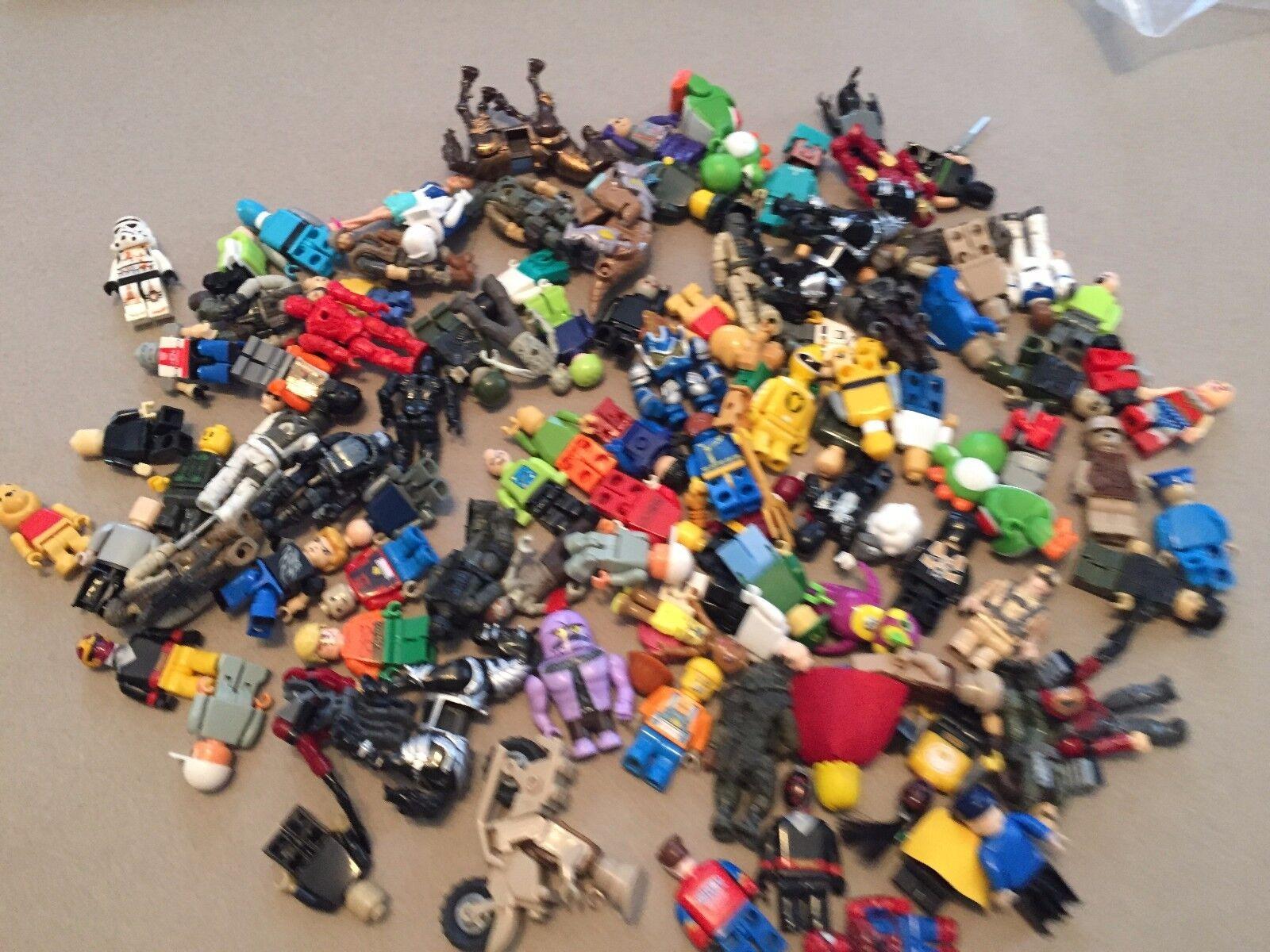 100 Non Lego Minifigures Megablok Heroes minifig lot U331