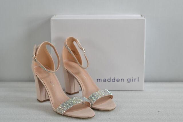 Women/'s Madden Girl Reah Rhinestone Strappy Heels Nude