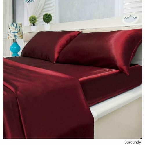 "Burgundy Solid 9/"" to 25/""Deep Pocket Bedding Item US Size 800 TC Satin Silk"