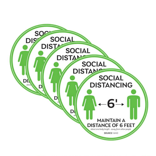 5pcs Social Distancing Floor Decal 6 Feet Safety Isolation Distance Sign Sticker