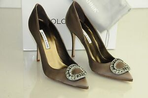 5cb7161a1 Image is loading New-Manolo-Blahnik-OIDO-Jeweled-Crystals-Taupe-Brown-