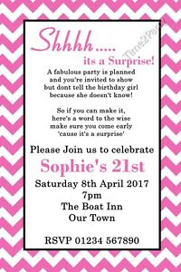 personalised birthday party invites surprise party invitations