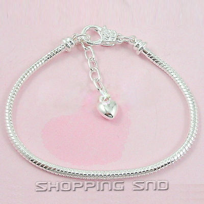 10pcs Silver Lobster Clasp Snake Chain Charm Bracelets Fit European Beads P13