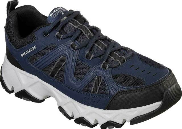 NEW Mens SKECHERS Relaxed Fit Crossbar Navy LEATHER Sneaker Shoes AUTHENTIC