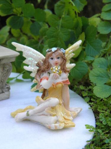 Miniature Dollhouse FAIRY GARDEN ~ Pastel Yellow Shimmer Fairy with Sparkle Ball