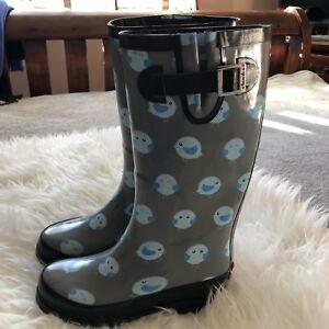 CHOOKA-Womens-Gray-Black-Trim-Rubber-Fat-Bird-Dots-Tall-Rain-Boots-Sz-5