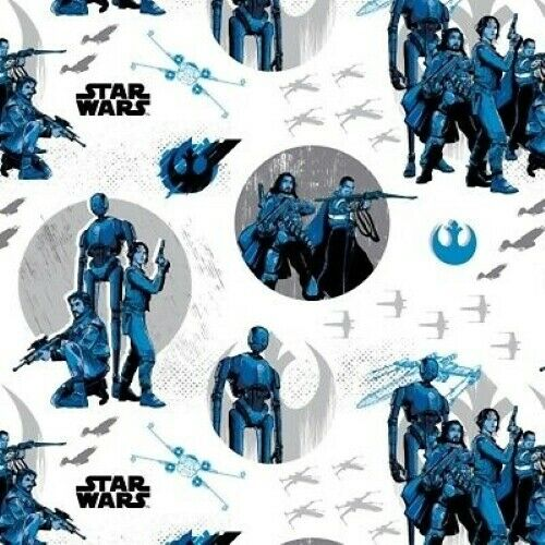Fat Quarter Rogue One Star Wars Characters On Blue 100/% Cotton Quilting Fabric