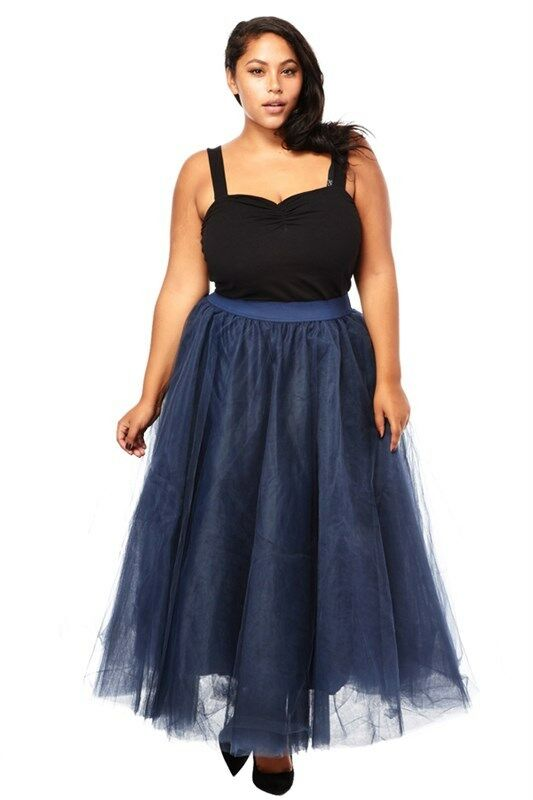 PLUS SIZE Sexy TuTu Tulle A-Line Pleated Ankle Long Tea Skirt Navy bluee 1X 2X 3X