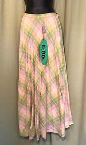 NOS-NWT-Vintage-70-039-s-Pastel-Plaid-Pleated-Maxi-Skirt-Size-7-24-034-waist