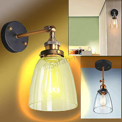 Modern Vintage Decore Industrial Loft Metal Glass Rustic Sconce Wall Light Lamp