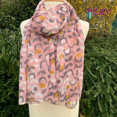 Rose Gris moutarde écharpe blanche avec un bloc Motif Floral Femmes Superbe Qualité