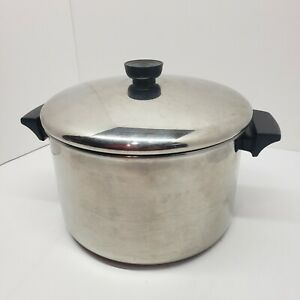 Vintage Revere Ware 1801 Stainless Steel 6 Qt. Stock Pot w/ Lid
