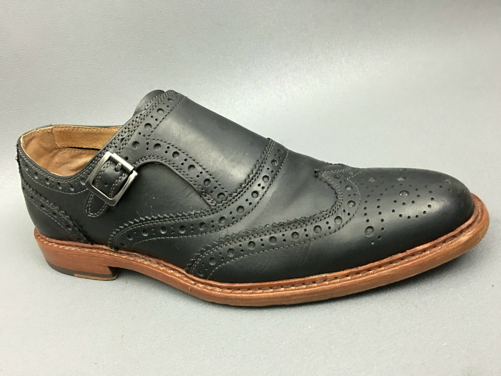 J&M J&M J&M Est.1850 McGavock nero Monk Strap Brogue Wingtip Dress scarpe Dimensione 10 USA. a4190b
