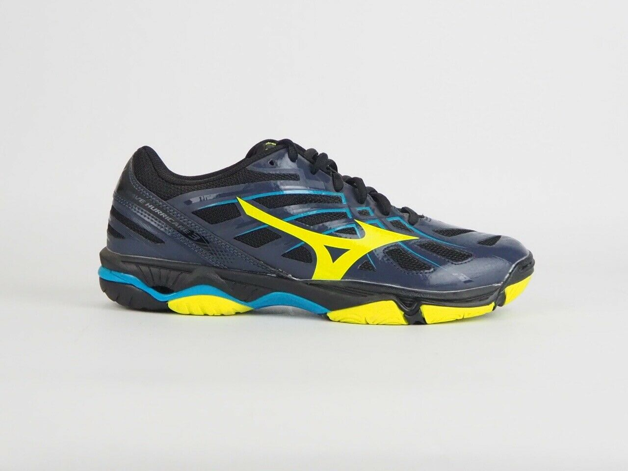 Mens Mizuno Wave Hurricane 3 Indoor Lace Up Navy Lime Running Sports Trainers
