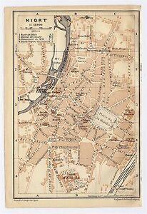 1914 ANTIQUE CITY MAP OF NIORT POITOUCHARENTES FRANCE eBay