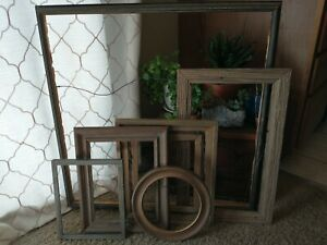 Vintage Rustic Wood PICTURE FRAME Lot  Recycle Art Craft Deco Estate Sale barn