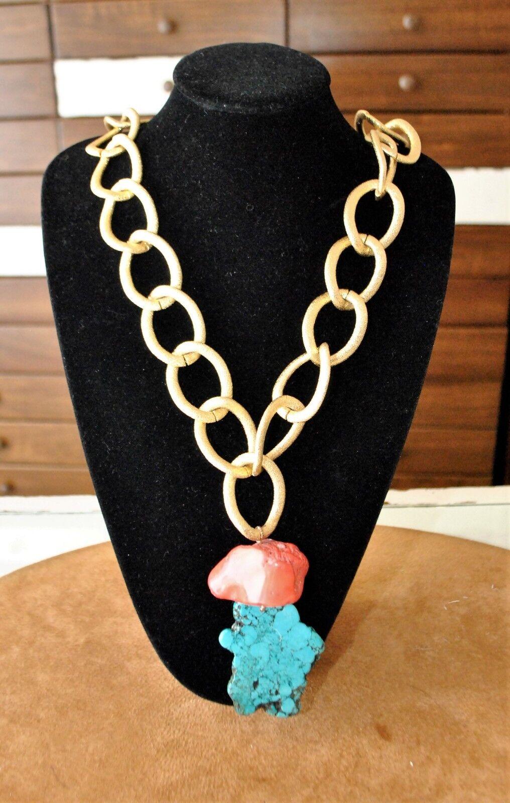 Collana catena corallo radice turchese