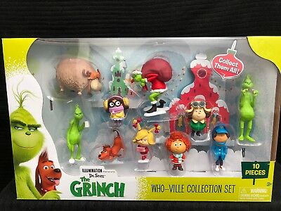 Seuss The Grinch Movie Figure Set of 14 w// 12 Figures Fun Book and Eraser Dr