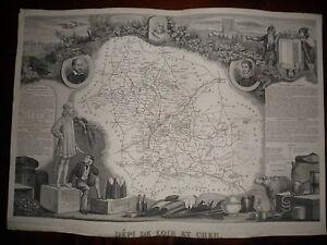 Carte Geographique Publie Par Combette 1845 / Departement Du Loir Et Cher